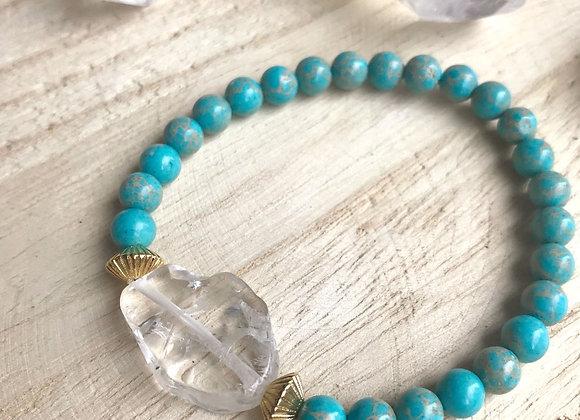 Armband jaspis en bergkristal