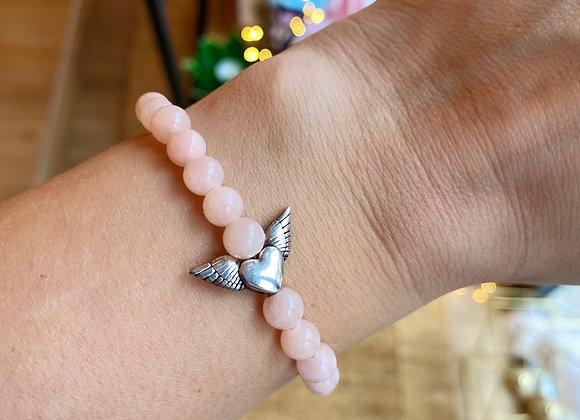 Armband roze jade