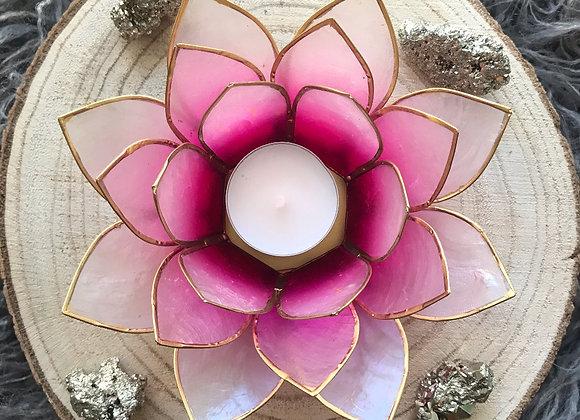 Lotus theelicht houder fuchsia