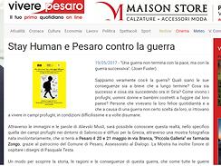 Locandina mostra fotografica Pesaro, Stay Human e Pesaro contro la guerra