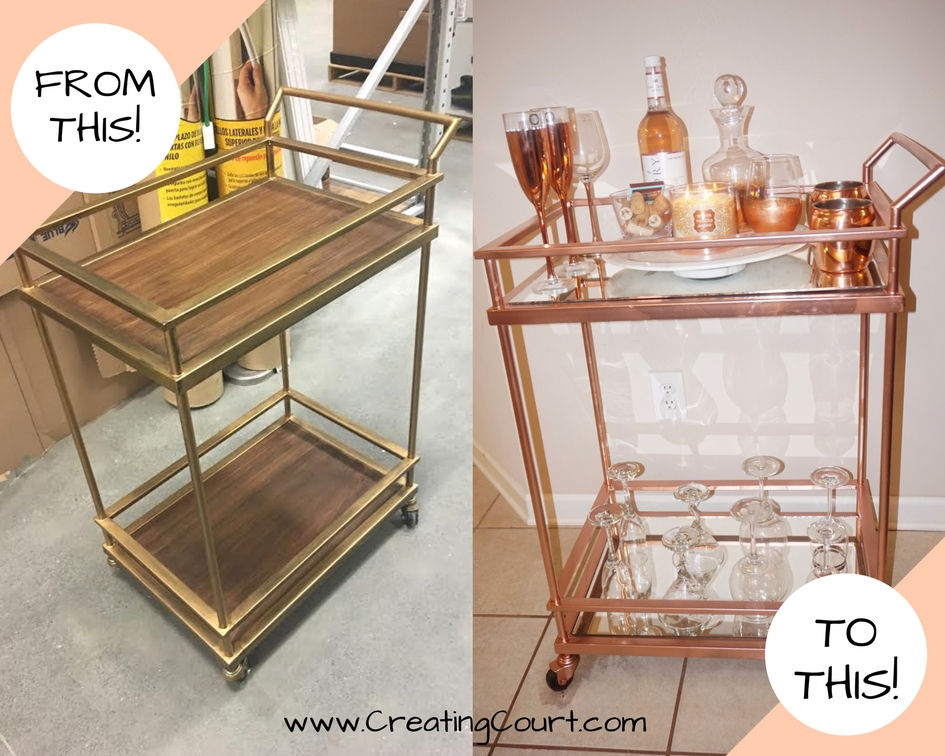 diy rose gold mirrored bar cart for under 100 - Rose Gold Bar Cart