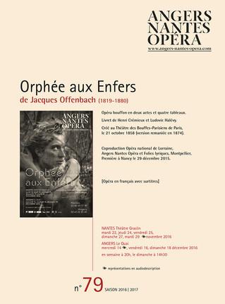 Programme de salle de Orphée pour Angers Nantes Opéra