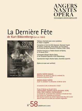 Programme de salle de La Dernière Fête pour Angers Nantes Opéra