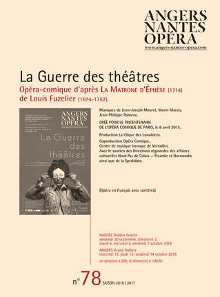 Programme de salle de La Guerre des théâtres pour Angers Nantes Opéra