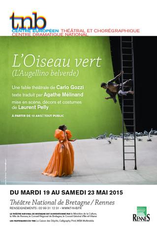 Affiche pour le spectacle L'Oiseau vert au TNB-Rennes