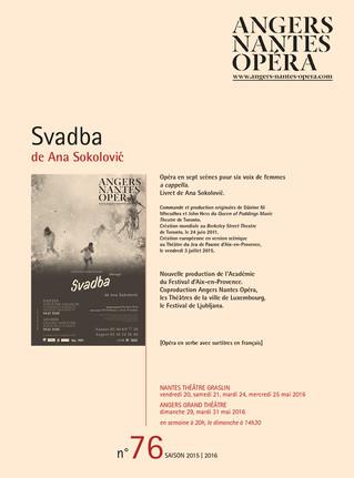 Programme de salle de Svadba pour Angers Nantes Opéra