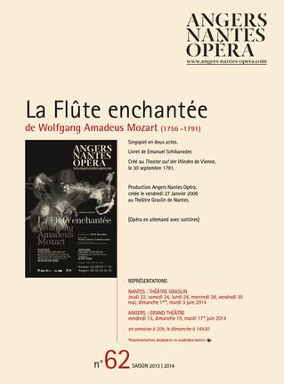 Programme de salle de la Flûte enchantée pour Angers Nantes Opéra