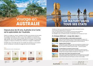 Encart publicitaire Australie à la carte