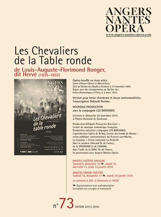 Programme de salle de Les Chevaliers de la table ronde pour Angers Nantes Opéra
