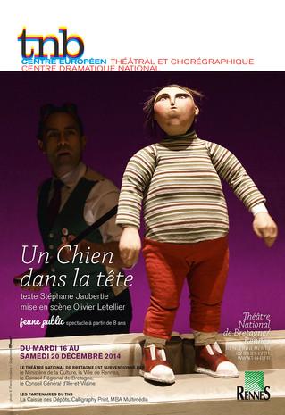 Affiche pour le spectacle Un chien dans la tête au TNB-Rennes