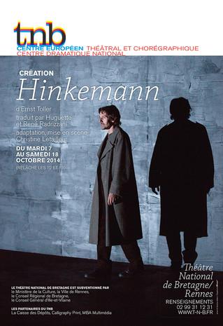 Une affiche pour le spectacle Hinkemann au TNB-Rennes