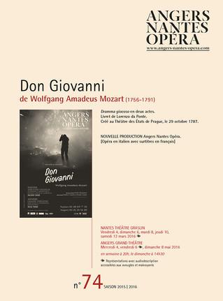 Programme de salle de Don Giovanni pour Angers Nantes Opéra