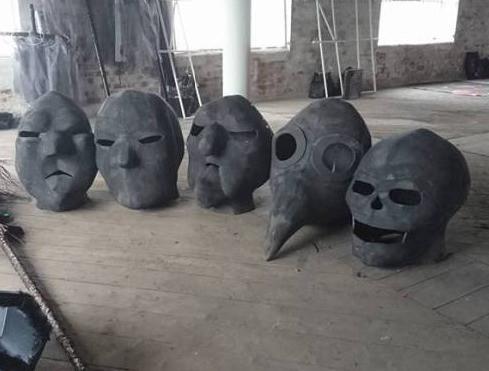 EVA foam puppet heads made from interlocking foam tiles.