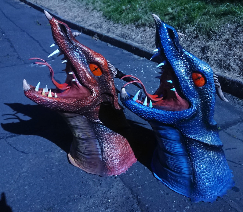 Wall-mounted dragon heads