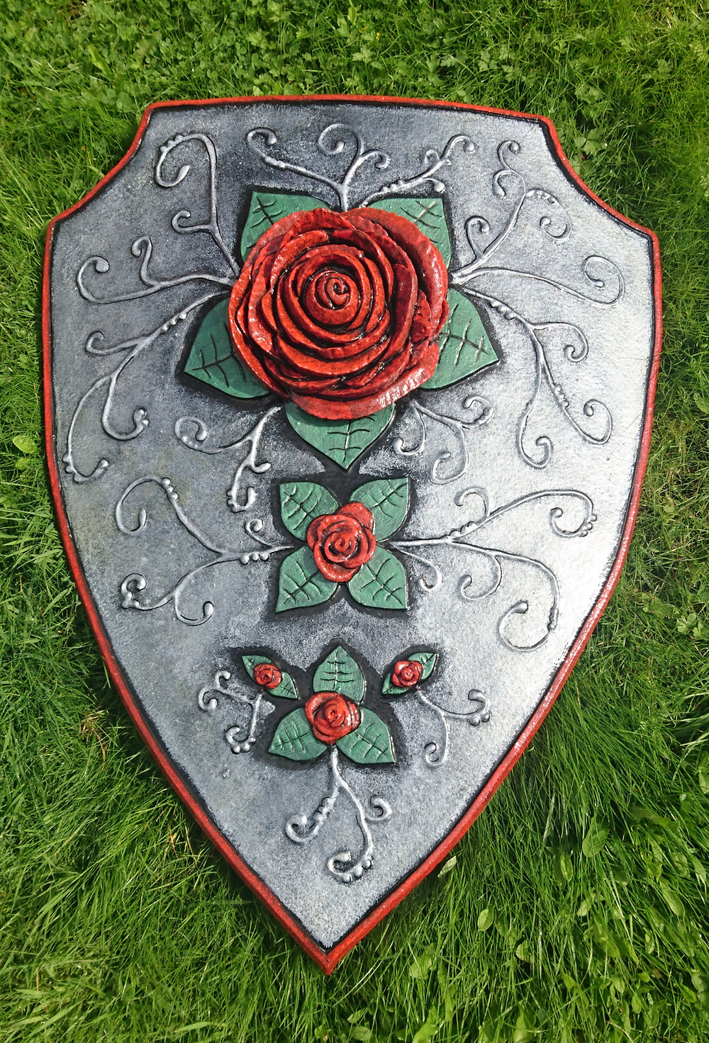 LARP Shield with roses and vines.
