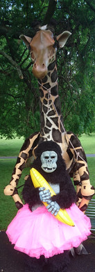 Giraffe puppet and gorilla costume_