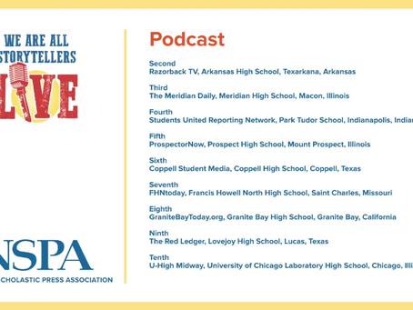 Students United Podcast Awarded Fourth Place in National Scholastic Press Association's Best of Show