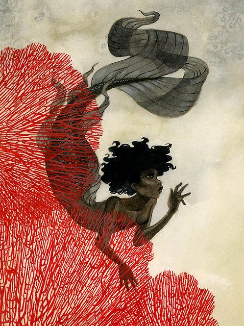 Coral Mermaid Print - 8 x 10