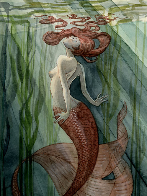 Kelp Forest Mermaid Print - 8 x 10