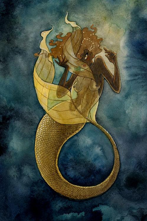 Gold Mermaid Print - 8 x 10