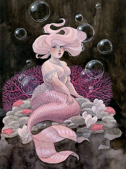 Pink & Pearls Mermaid Print - 8 x 10