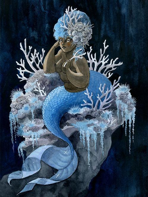 Antler Coral Mermaid Print - 8 x 10