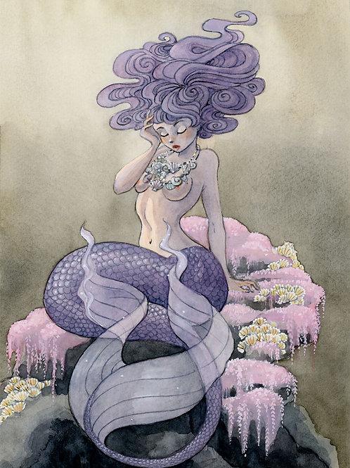 Lavender Mermaid Print - 8 x 10