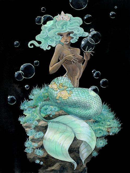 Mint Green Mermaid Print - 8 x 10