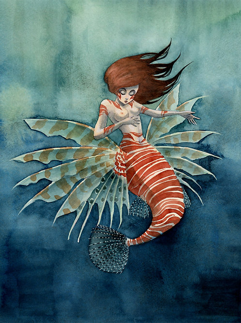 Lionfish Mermaid Print - 8 x 10