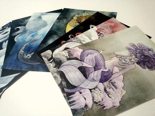 Mermaids Postcard Megapack - both sets, 24 total