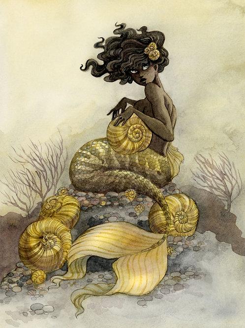 Sea Snail Mermaid Print - 8 x 10