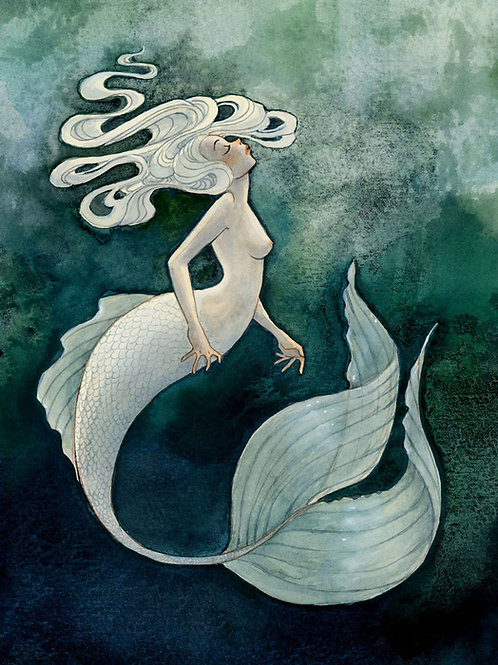 White Mermaid Print - 8 x 10