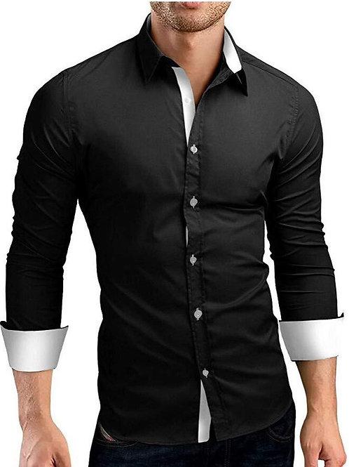 Men's Casual Formal Solid Slim Fit Long Sleeve Dress Shirt
