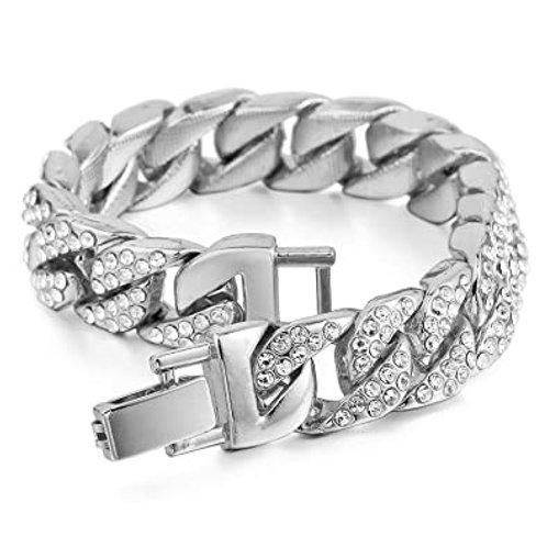 Men's Silver Iced Out Cuban Link Bracelet
