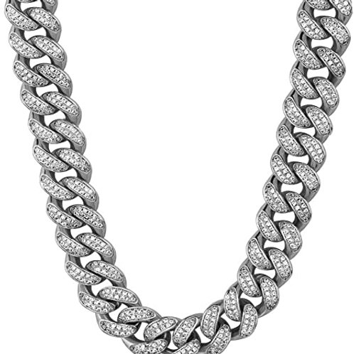 Men's Silver Iced Out Cuban Link Chain