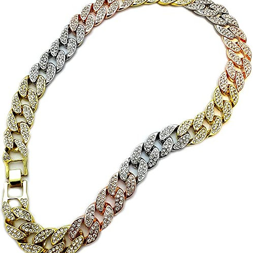 Men's Multi-Colored Iced Out Cuban Link Chain