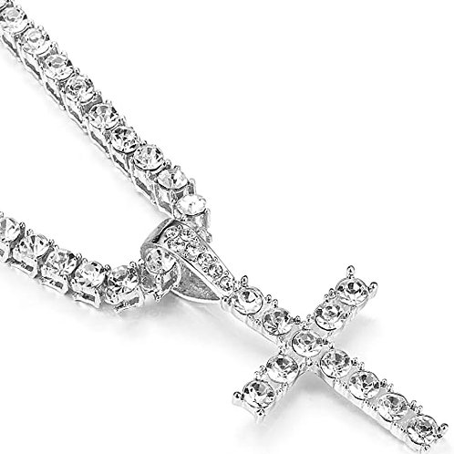 Men's Iced Out Silver Tennis Chain w/ Cross Pendant