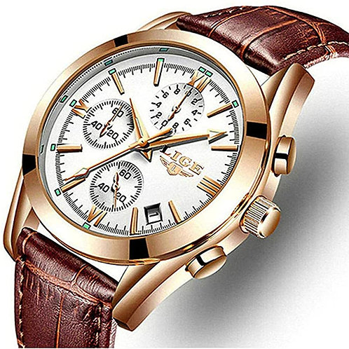 Men's Casual White Faced Gold Analog Watch