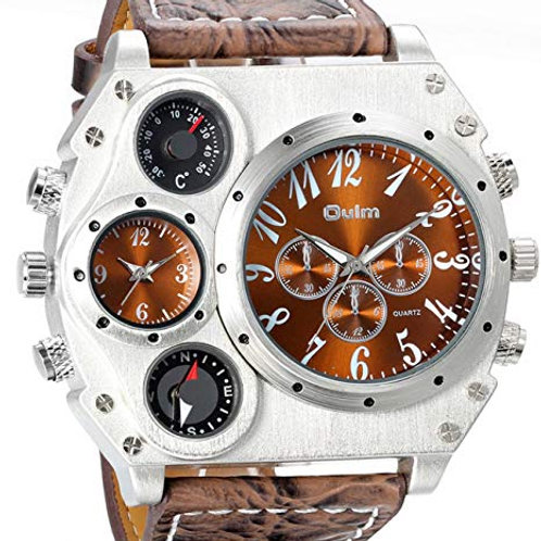 Men's Big Face Luxury Duel Time Zone Watch