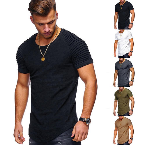 Men's Stripe Folded Shoulder Short Sleeve Shirt