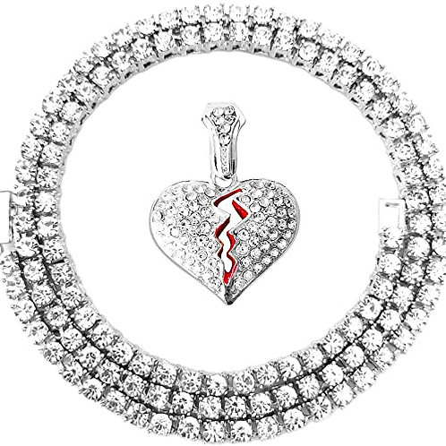 Iced Out Silver Broken Heart Pendant Tennis Chain
