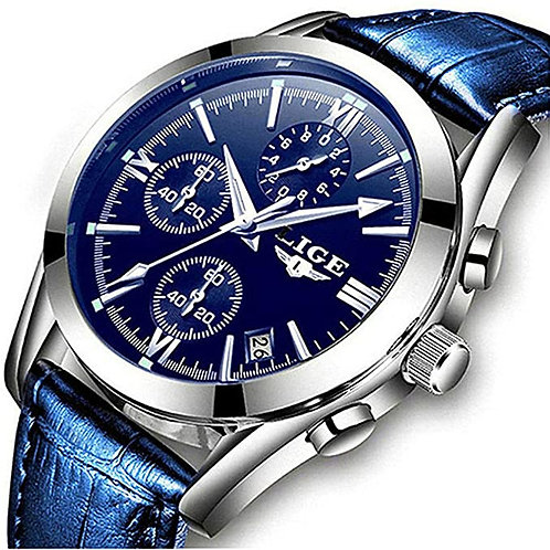 Men's Casual Blue Faced Silver Analog Watch