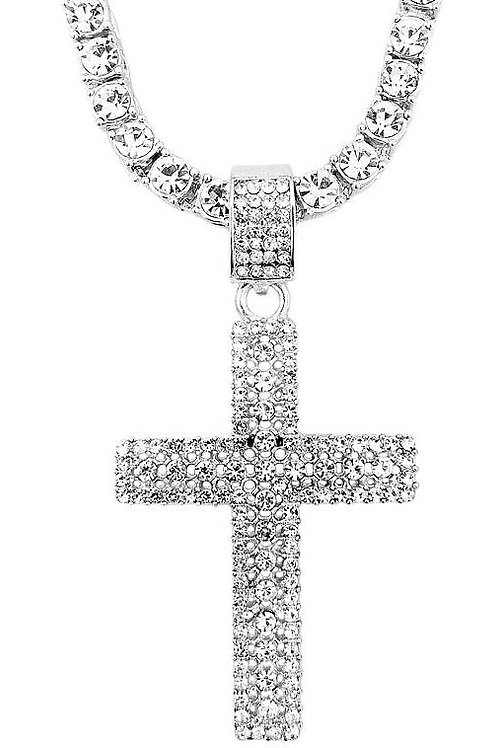 Men's Iced Out Silver Tennis Chain w/ Flooded Cross Pendant