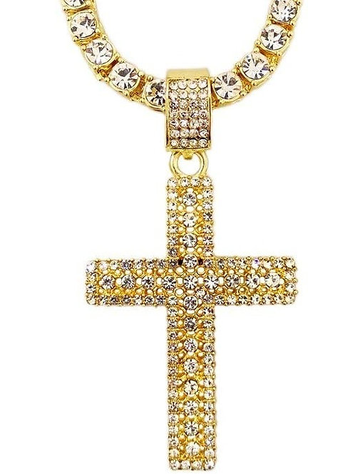 Men's Iced Out Gold Tennis Chain w/ Flooded Cross Pendant