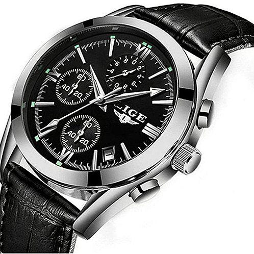 Men's Casual Black Faced Silver Analog Watch