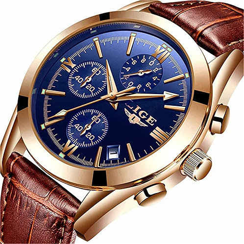 Men's Casual Blue Faced Gold Analog Watch