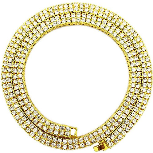 Men's Iced Out Gold 2 Row Tennis Chain