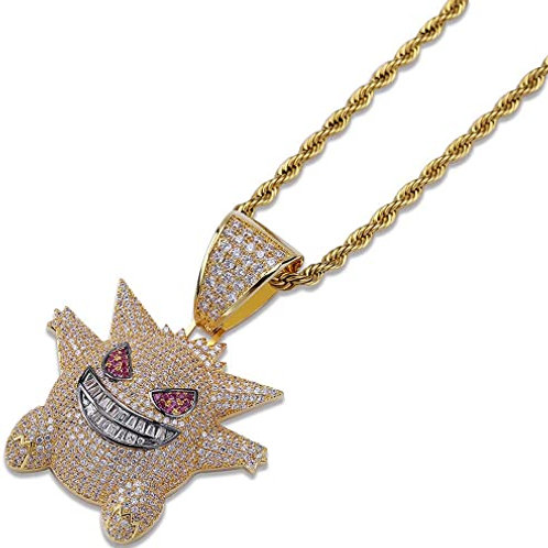 Men's Iced Out Gold Rope Chain w/ Gendar Pendant