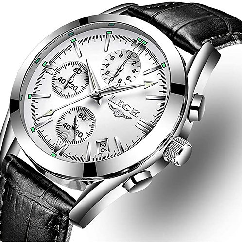 Men's Casual White Faced Silver Analog Watch