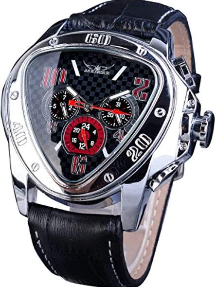 Men's Luxury Triangular Skeleton Silver Mechanical Watch